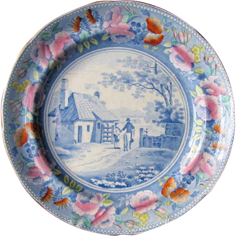 Rare William Mason Plate, Transferware, Rural Views, Antique Early 19th C