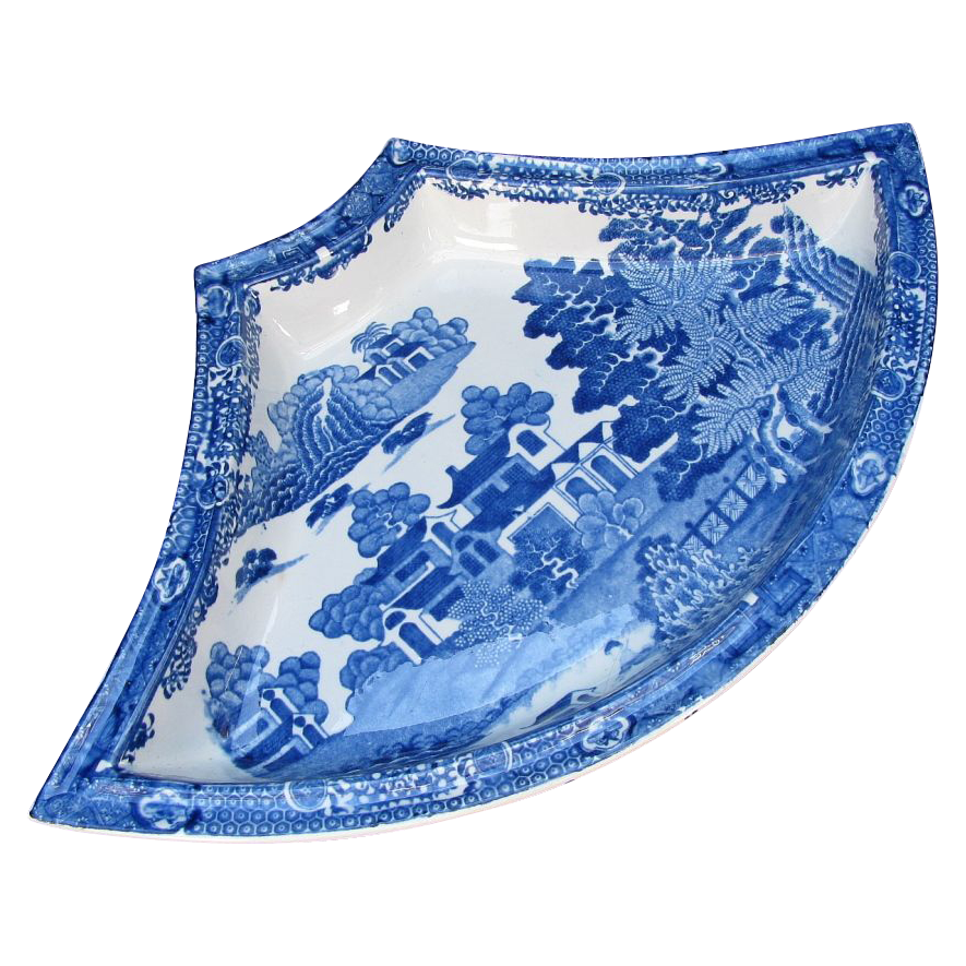 "Spode Supper Set Segment, Blue & White, ""Forest Landscape"", Antique Early 19th C"