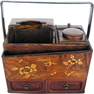 Japanese Tabako-Bon, Keyaki Wood & Lacquer, Antique Meiji Era
