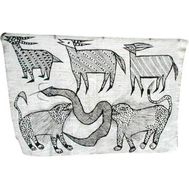 African Senufo Mud Cloth with Antelopes, Snake, Hyenas, Vintage Ivory Coast