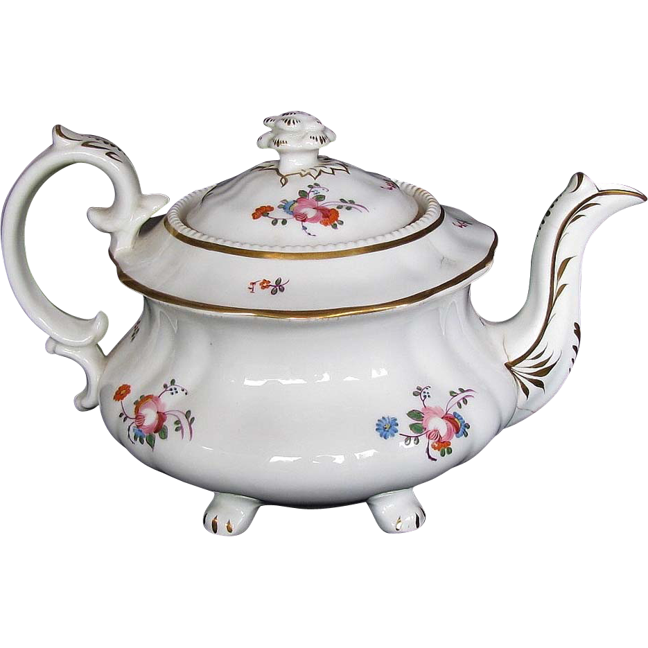 Hilditch Teapot on 4 feet, Study Piece, AS IS, Antique 19th C English  Porcelain