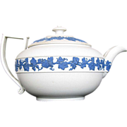 Wedgwood Teapot, Rare White Ware Dry Body, Blue Relief, Antique, Early 19th C