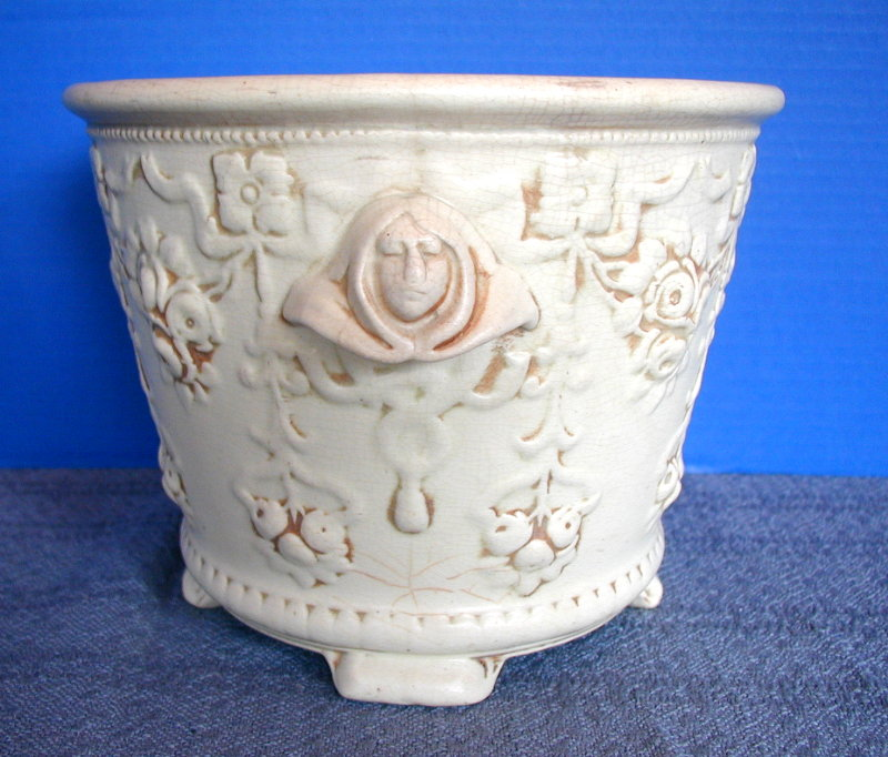 Weller Pottery Clinton Ivory Jardiniere, Monk's Head Handles, Antique