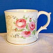 English Porcelain Large Mug, Hand Painted Roses, dated, Antique 19th C