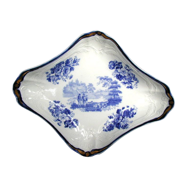 "Turner Large Dessert Dish, ""The Villager"", Blue & White,  Antique Early 19th C English"
