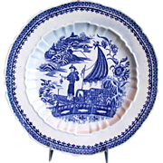 "Caughley Plate ""Fisherman"",  Rare Salopian Mark,  Antique 18th C English Transferware"