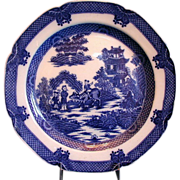 Boy on a Buffalo Plate, English Blue Transferware,  Antique c 1800