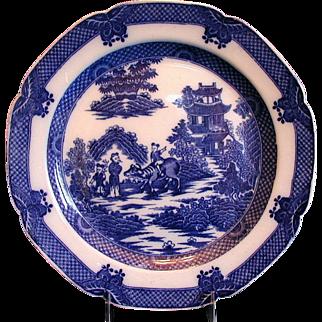Boy on a Buffalo Plate, Blue Transferware,  Antique Early 19th C English