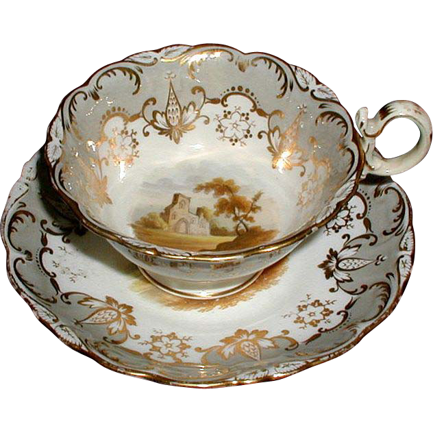 "Coalport ""Adelaid"" Cup & Saucer, Hand Painted Landscapes, Antique Early 19th C English"