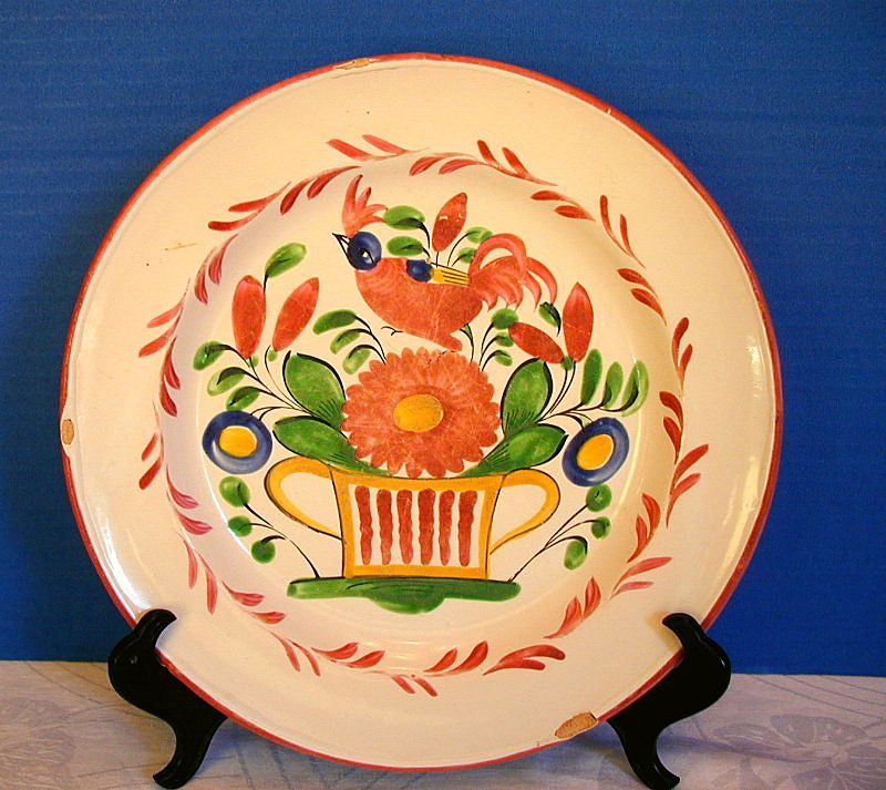 St. Clement  Plate, Antique 19th C French Faience,  As Is