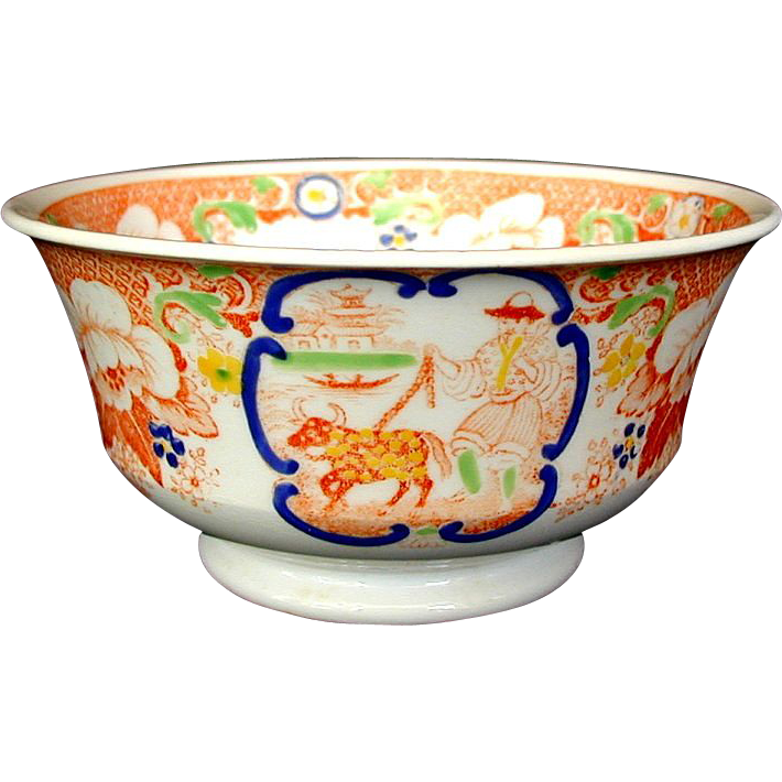 "Hilditch Chinoiserie Waste Bowl, ""C"" Scroll Pattern,  Antique 19th C English Porcelain"