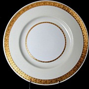 "Mintons Dinner Plate, ""Embassy"" Pattern , K108, Gilded Rim w/Cream & White"