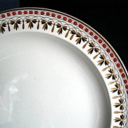 Wedgwood Dinner Plate, Rust, Gold & Black, Antique 19th C English