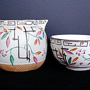 Aesthetic Movement Cream & Sugar, Bamboo & Trellis, Antique 19th C English Stoneware, Brownhills