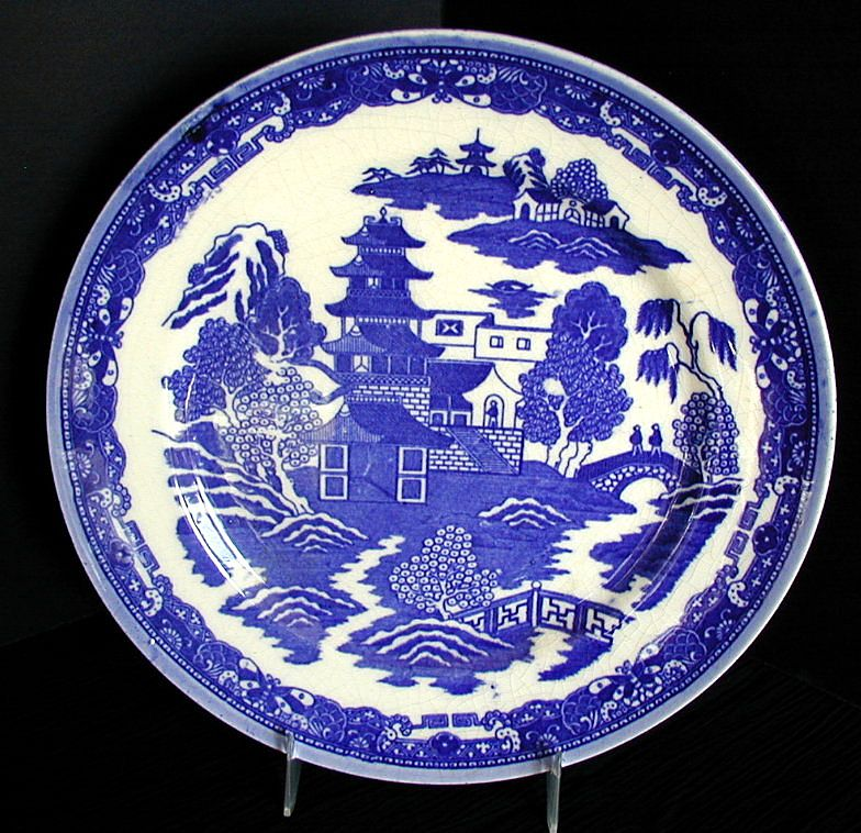 Blue Willow Variant Plate No Birds Made In Japan