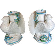 Glazed Parian Dove Form Vases, (or Candle Holders), George Ash,  Antique 19th C English
