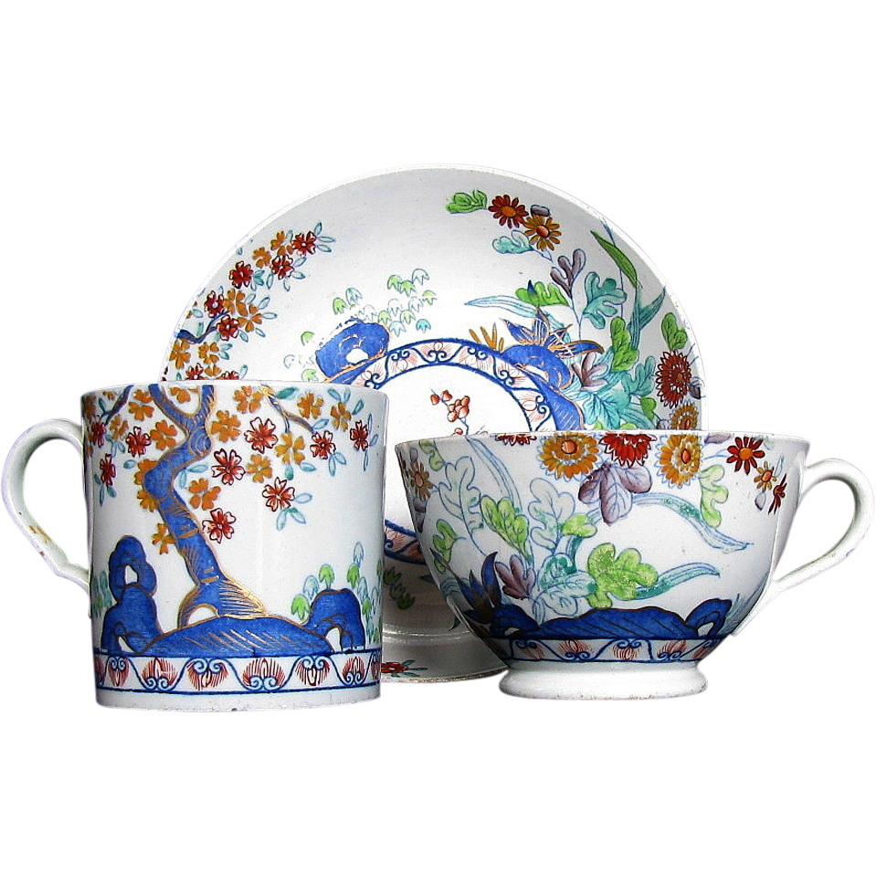 Spode Stone China Trio: 2 Cups, 1 Saucer, English Chinoiserie, Antique Early 19th C