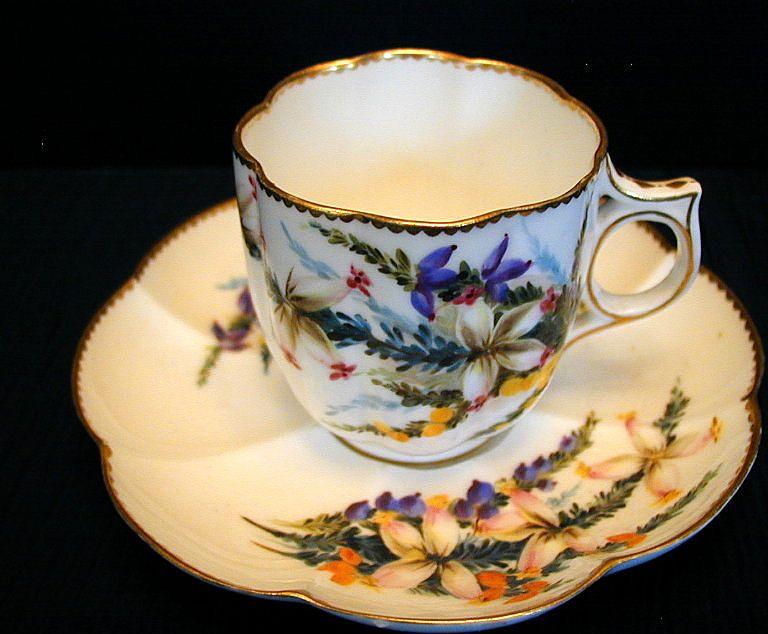 George Jones Cup & Saucer, Handpainted, Antique 19th C English