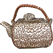 Unusual Square Japanese Studio Pottery Teapot, Jakatsu Glaze, Antique Meiji Era