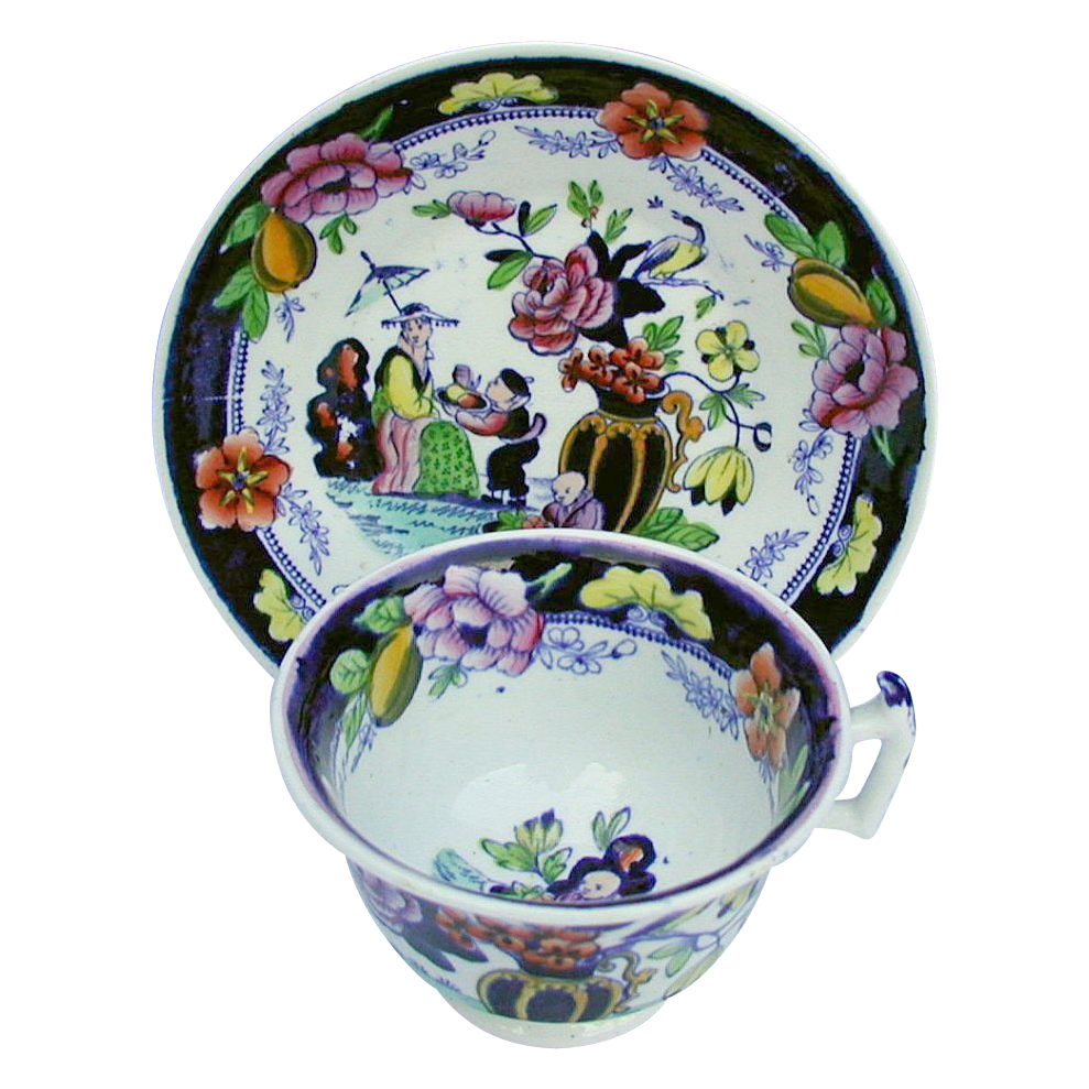 S & J Rathbone Chinoiserie Cup & Saucer, Boy with Tray, Antique 19th C English