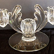 Heisey Art Deco Candle Holder, 3 Light (Triple),  Crystolite