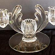 Heisey Art Deco Candle Holder, 3 Light (Triple),  Crystolite