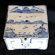Korean Water Dropper, Square Form, Underglaze Blue, Antique, As Is