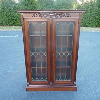 Mahogany Two Door Leaded Glass Bookcase