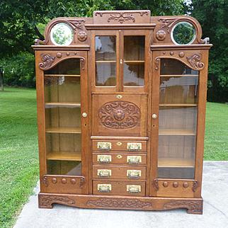 Oak Double Bookcase Secretary