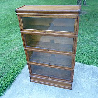 Oak 4 Stack Barrister Lawyer Bookcase