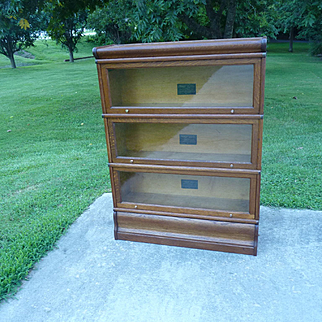 Oak 3 Stack Barrister Lawyer Bookcase