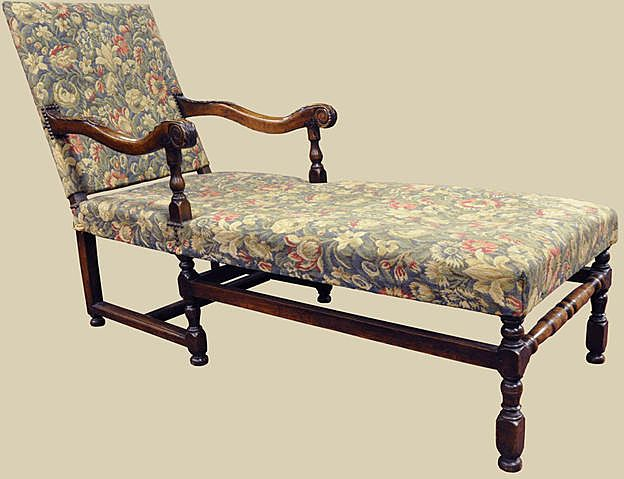 French Louis XIII Style Chaise : Antiquing with Pamela | Ruby Lane on