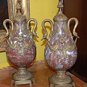 Pair of Marble Cassolettes