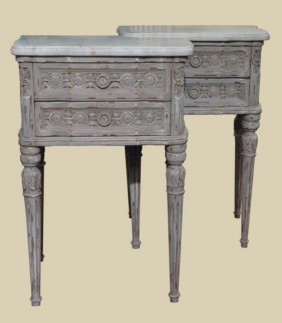 Chic Pair of Painted Marble Top Bedside Tables