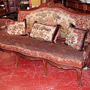 Elegant French Walnut Louis XV Tapestry Sofa