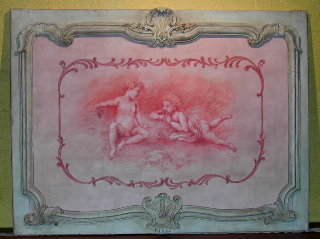 Sweet French Handpainted Wood Panel