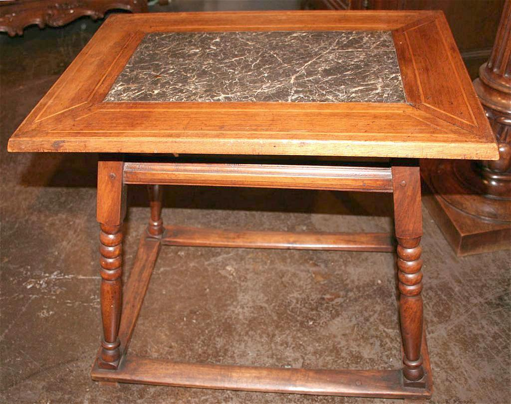 Versatile French Walnut Marble Top Table