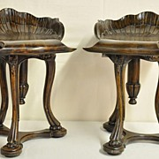 Pair of Carved Walnut Stools
