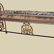 Brass Bench with Aubusson Tapestry