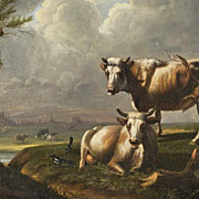 French Bovine Oil on Canvas