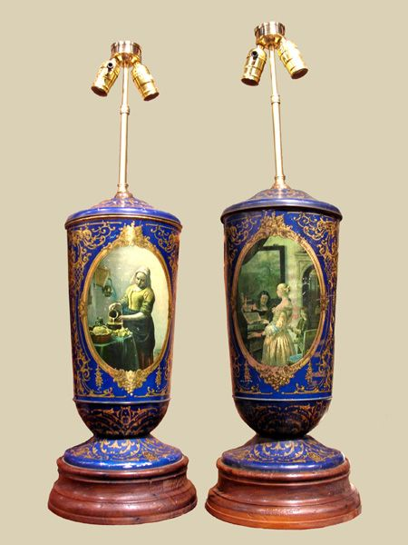 Wonderful  Pair of 19th C. Tole Canister Lamps