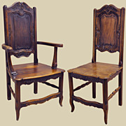 French Carved Walnut Dining Chairs