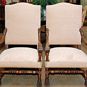 Lovely Pair of French Walnut Armchairs