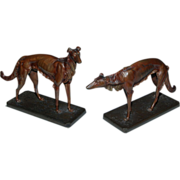 Pair of Bronze Greyhounds, Franz Xaver Bergman