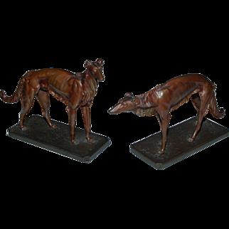Pair of Bronze Greyhounds, Franz Xaver Bergman