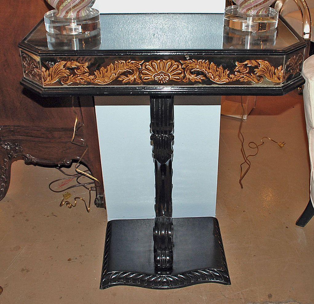 Ebonized Eglomise Console Table