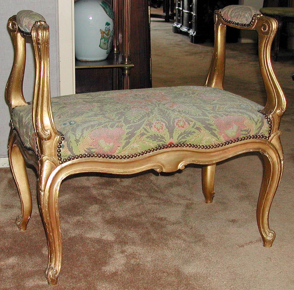 French Gilt Bench From Antiquing With Pamela On Ruby Lane