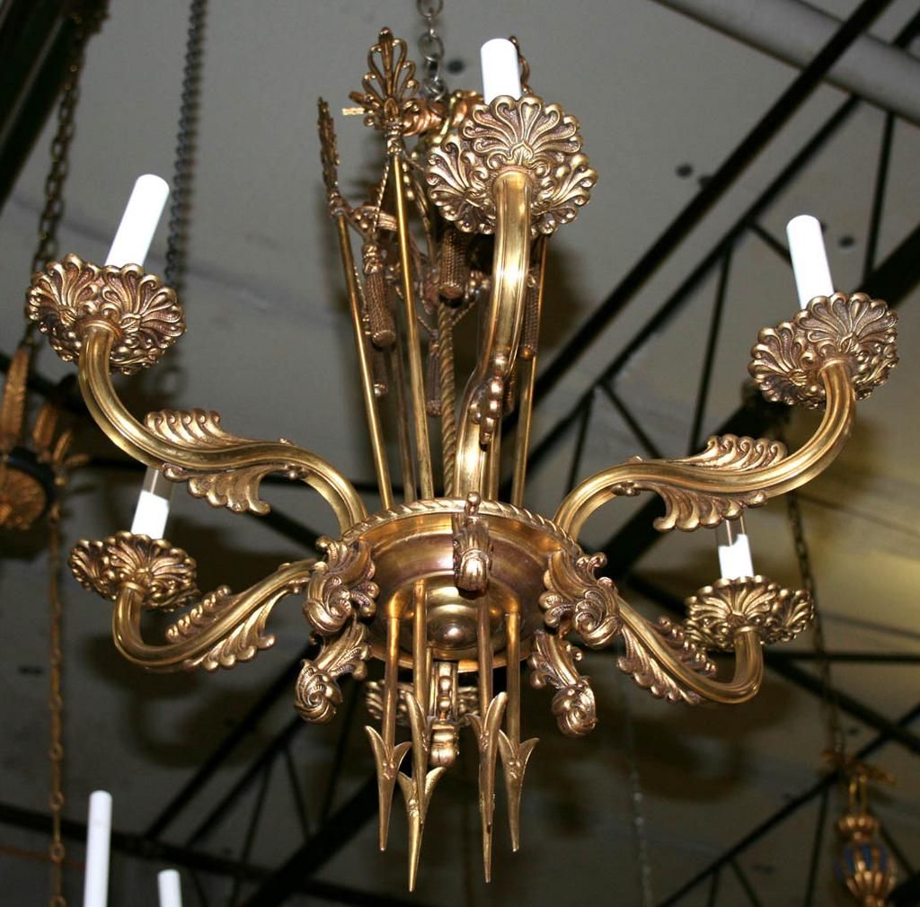 French Bronze Empire Style Chandelier