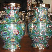 Fabulous Pair of Cloisonne Vases