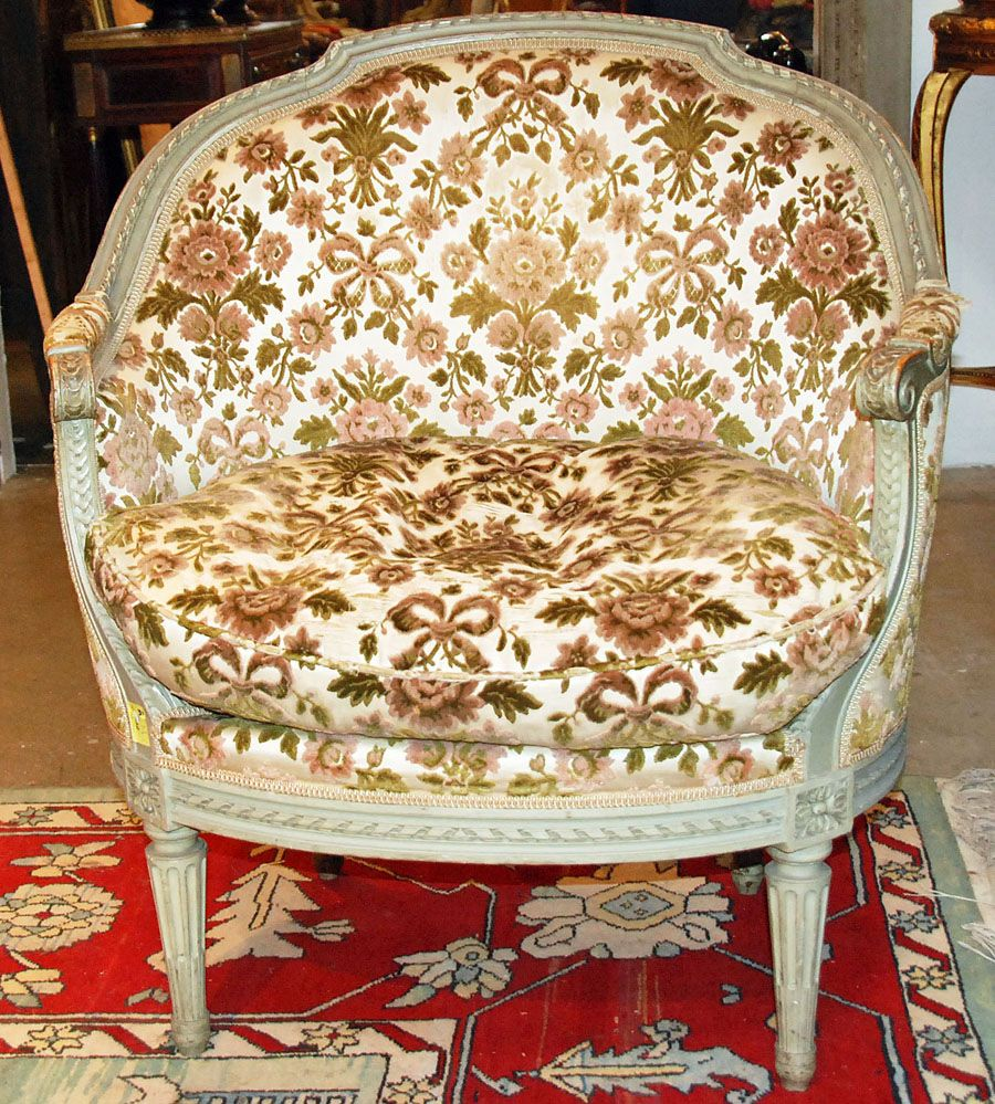 Chic Louis XVI Style Painted Marquise Chair
